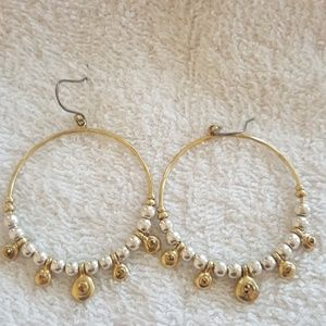 Lucky Brand Jewelry - New Lucky Brand Two Tone Pave Hoop Earrings